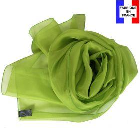 Echarpe mousseline soie verte fabriquée en France