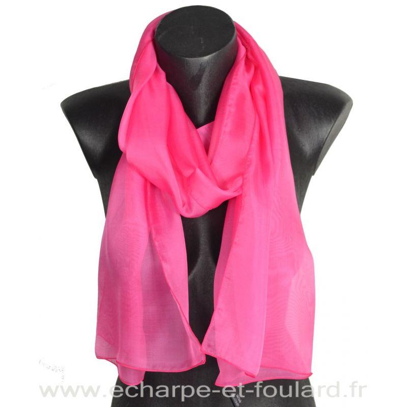 Echarpe mousseline soie rose fabriquée en France