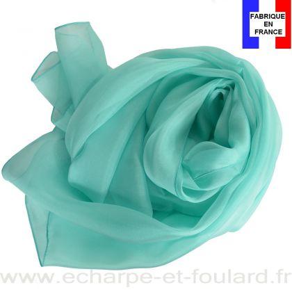 Echarpe mousseline soie aqua fabriquée en France