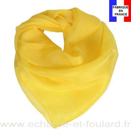 Carré mousseline jaune fabriqué en France