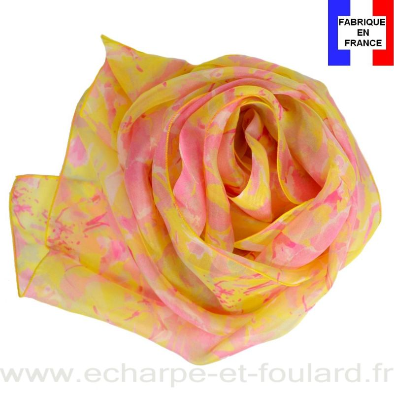 Echarpe soie Givre jaune fabriquée en France