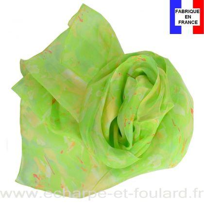 Echarpe soie Givre vert fabriquée en France
