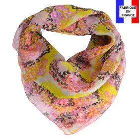 Carré de soie Coquillage jaune fabriqué en France