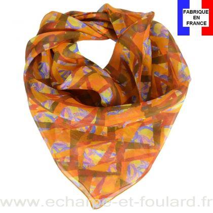 Carré de soie Losange orange fabriqué en France