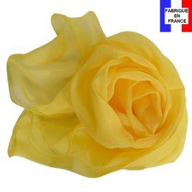 Foulard soie jaune bords ondulés fabriqué en France