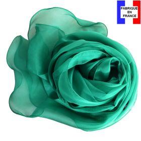 Foulard soie vert bords ondulés fabriqué en France