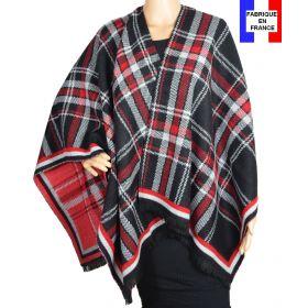 Poncho écossais noir et rouge made in France