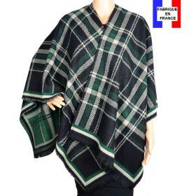 Poncho écossais noir et vert made in France