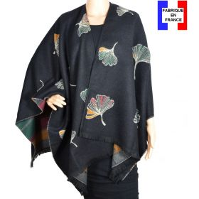 Poncho Acanthe noir made in France