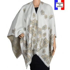 Poncho Aubepine écru made in France
