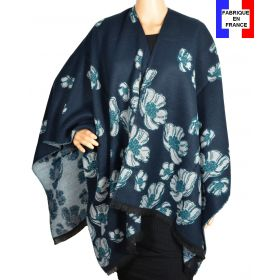 Poncho Aubepine bleu-vert made in France