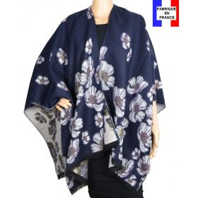 Poncho Aubepine bleu-violet made in France