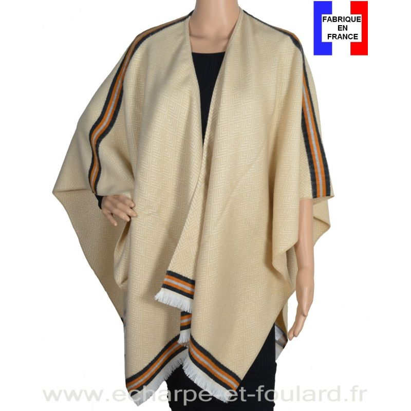 Poncho Couture beige made in France