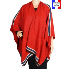 Poncho Couture rouge made in France