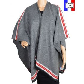 Poncho Couture gris made in France