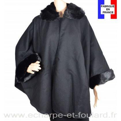 Poncho fourrure noir fabriqué en France