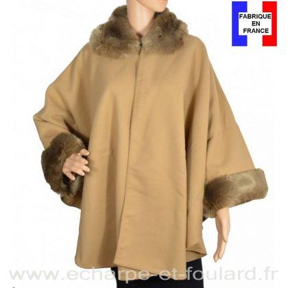 Poncho fourrure beige fabriqué en France