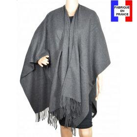 Poncho acrylique gris fabriqué en France