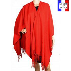 Poncho acrylique rouge fabriqué en France