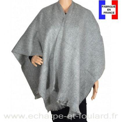 Poncho mohair gris clair fabriqué en France