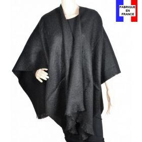 Poncho mohair noir fabriqué en France