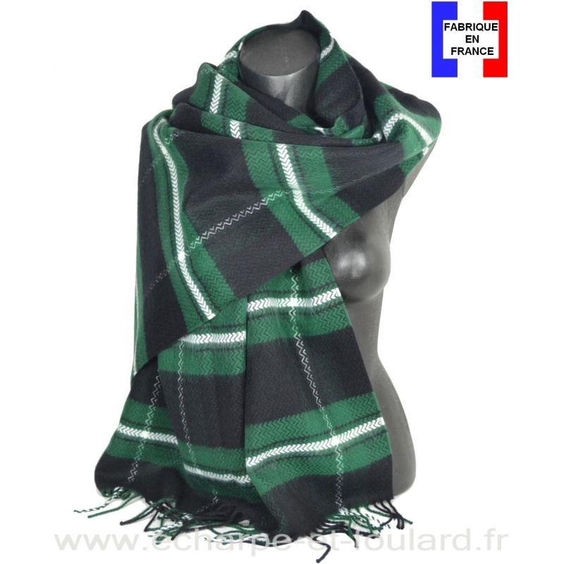 Châle écossais noir et vert