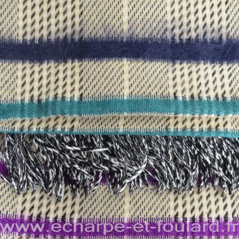 Châle mohair violet-bleu