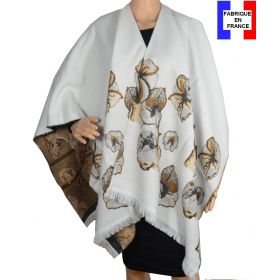 Poncho à fleurs Azara blanc made in France