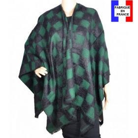 Poncho angora noir-vert made in France