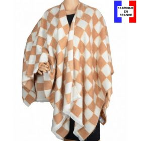 Poncho angora beige-blanc made in France