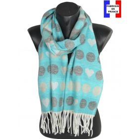 Echarpe cashcryl Coeurs bleue made in France