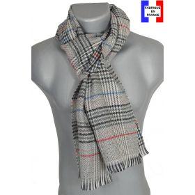 Echarpe laine et cachemire Cabri grise et rouge