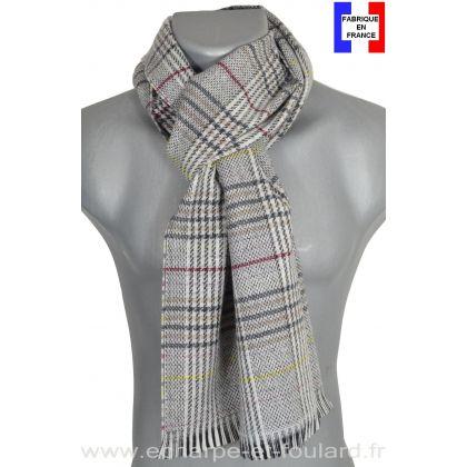 Echarpe laine et cachemire Cabri grise et jaune