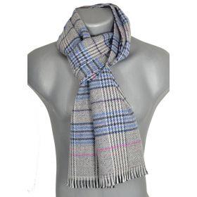 Echarpe laine et cachemire Cabri grise et bleue