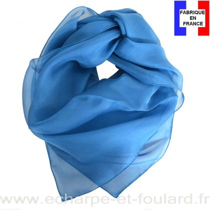 Carré mousseline bleu canard fabriqué en France
