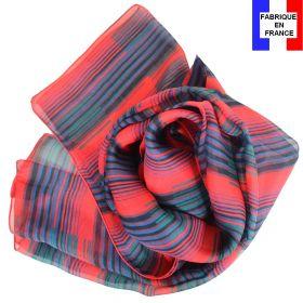 Echarpe de soie Rayures rouges fabriquée en France