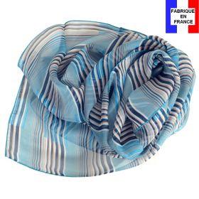 Echarpe de soie Rayures bleues fabriquée en France