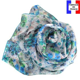 Echarpe de soie Romantique bleu fabriquée en France