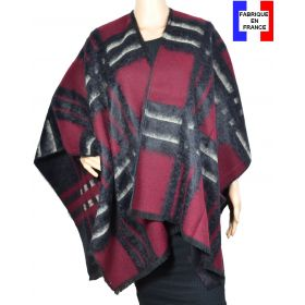Poncho Ecossais bordeaux noir made in France