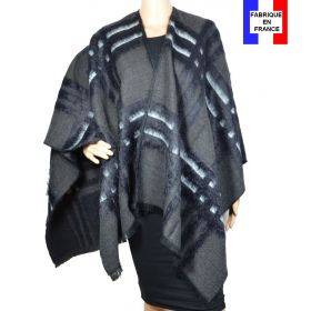 Poncho Ecossais gris-noir made in France