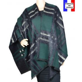 Poncho Ecossais vert noir made in France