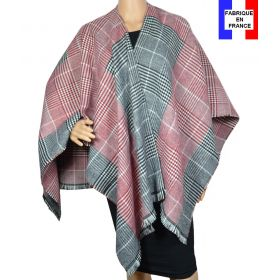 Poncho tartan rouge made in France