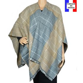 Poncho tartan beige made in France