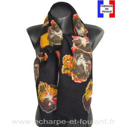 Echarpe à fleurs Azara noire made in France