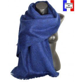 Châle mohair bleu marine fabriqué en France