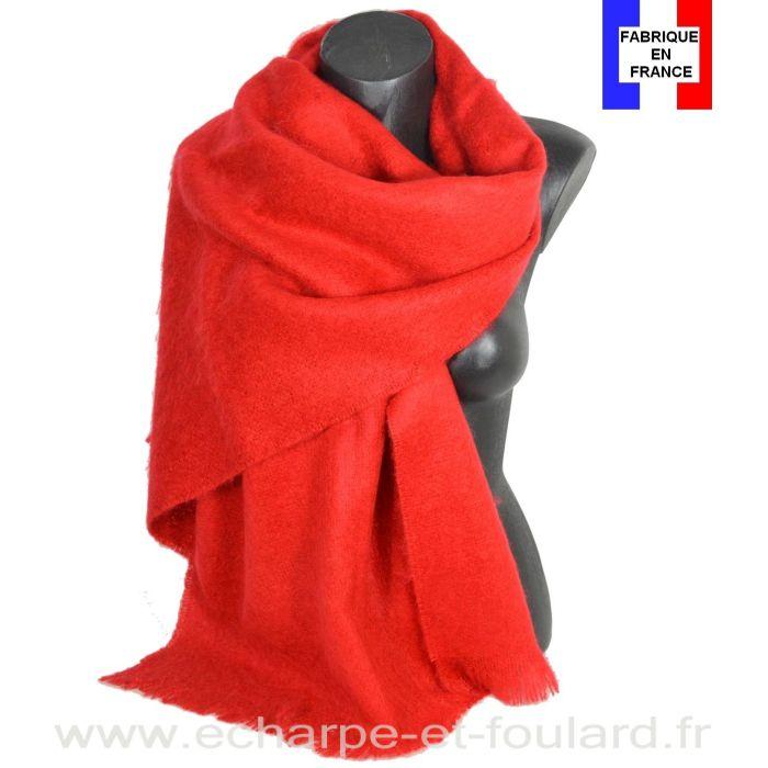 Châle mohair rouge fabriqué en France
