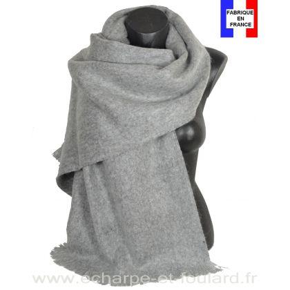 Châle mohair gris clair fabriqué en France