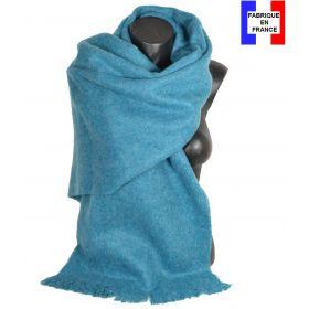 Châle mohair bleu fabriqué en France