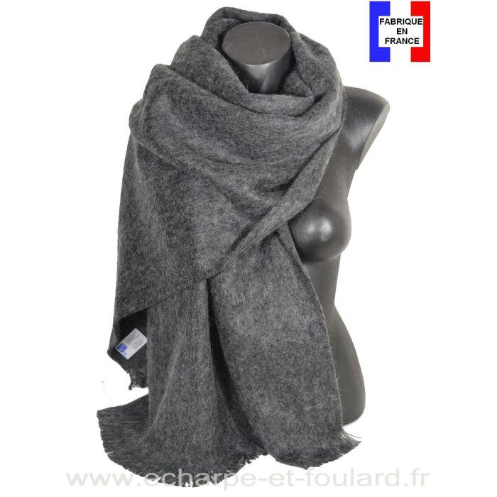 Châle mohair gris foncé fabriqué en France