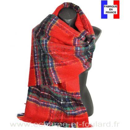 Châle mohair écossais rouge fabriqué en France
